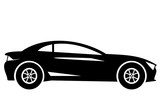 Silhouette modern sport car side view isolated on white