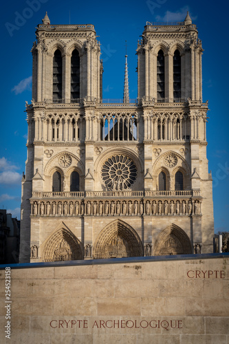 Paris, France - 03 10 2019: Façade of Notre-Dame of Paris. Archeological crypt
