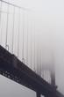 Heavy morning fog surrounds the Golden Gate Bridge
