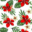 Seamless tropical flower with leaves pattern - 254532543