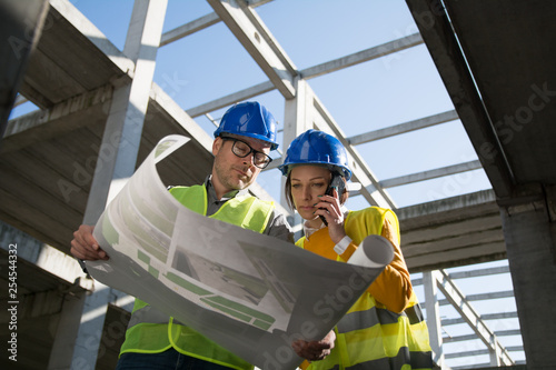 Two architects on the construction site