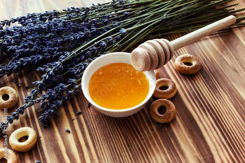 Lavender honey in jar. Healthy eating, natural sweet. - 254544391