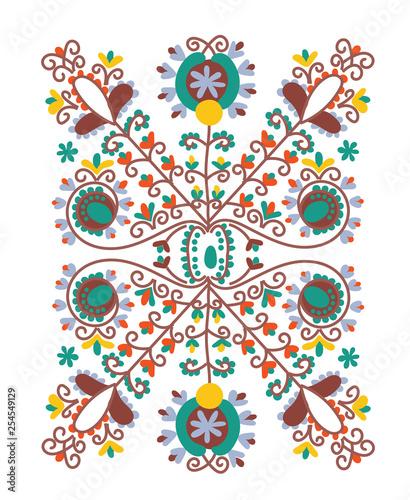 folk motif greeting card. ornamental decorative motif. folklore vector illustration. folk greeting card.  - 254549129