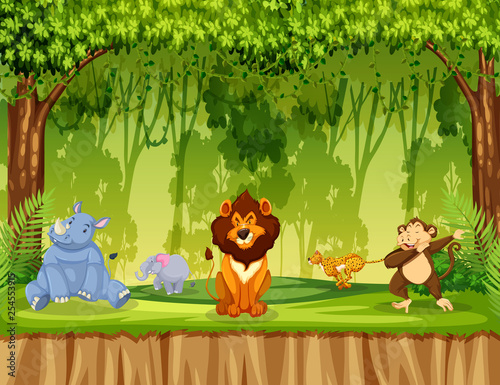 Animals in jungle scene - 254553915