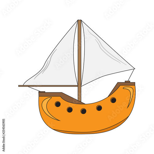 Isolated sailboat cartoon image. Vector illustration design