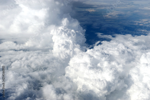 aerial view of cloud background from airplane - 254566905