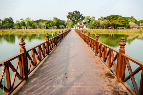 wooden bridge in the park, digital photo picture as a background - 254567361