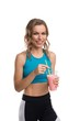Happy blonde in sportswear cropped isolated shot