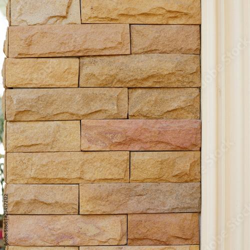stone brick wall exterior decoration home - 254572122