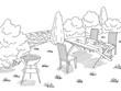 Barbecue graphic black white landscape sketch illustration vector