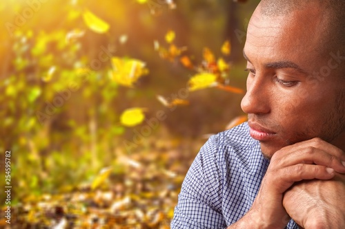 Man in Emotional Stress holding hands on chin isolated on white