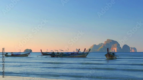 Ao Nang beach at sunset in Krabi Thailand