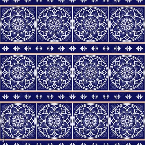 Italian tile pattern vector seamless with border ornament. Portugal azulejos, mexican talavera, spanish, sicily majolica or delft dutch ceramic. Mosaic texture for wallpaper or kitchen floor.