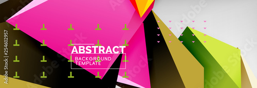 3d polygonal shape geometric background, triangular modern abstract composition - 254602957