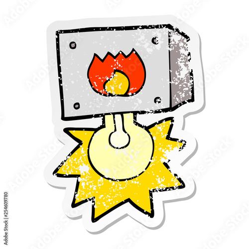 distressed sticker of a cartoon flashing fire warning light