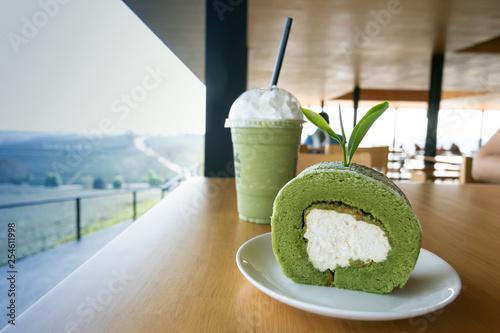 Cake made from tea with green in tea garden © sakdinon