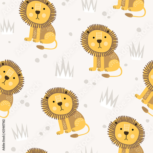 Seamless pattern with cute little lion. Cartoon african animal. It can be used for registration of a children's interior, fabrics, design of t-shirts and cards. Vector illustration. - 254617162