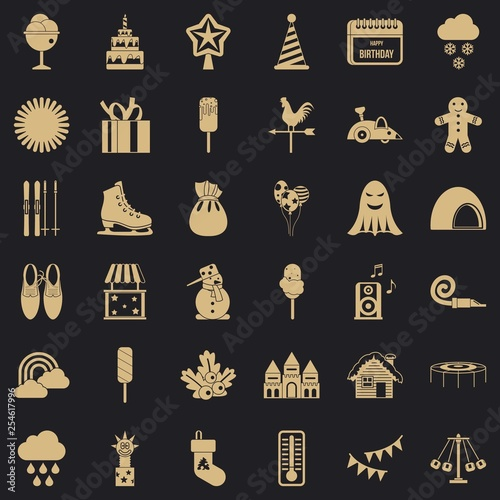 Children holiday icons set. Simple style of 36 children holiday vector icons for web for any design - 254617996