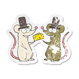 retro distressed sticker of a cartoon mice with cheese