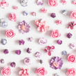 Flowers composition. Pattern made of purple and pink flowers on pastel gray background. Flat lay, top view, square - 254621907