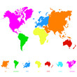 vector icon with world map and world continents for your design