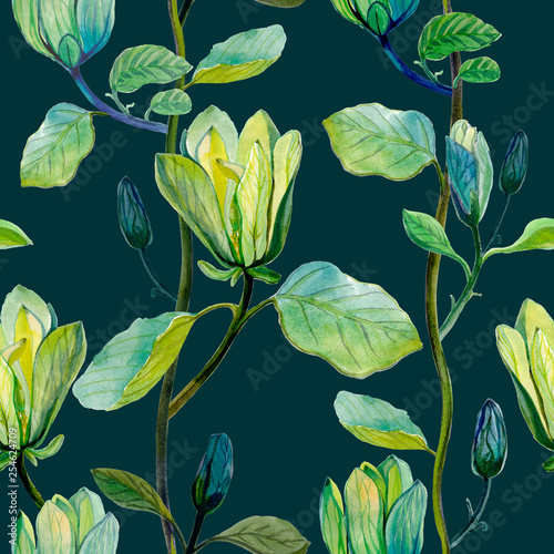 Beautiful magnolia flower tropical pattern. Seamless tropical pattern on dark background. © 1purple