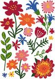 Colorful Wild and Garden Blooming Flowers and Herbs, Floral Seamless Pattern, Seasonal Decor Vector Illustration