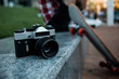 Selective focus of a photo camera in urban settings