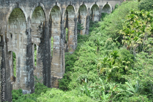 Nine arch bridge in Ella in Sri Lanka - 254630381