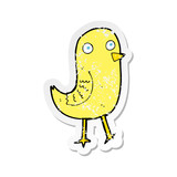 retro distressed sticker of a funny cartoon bird