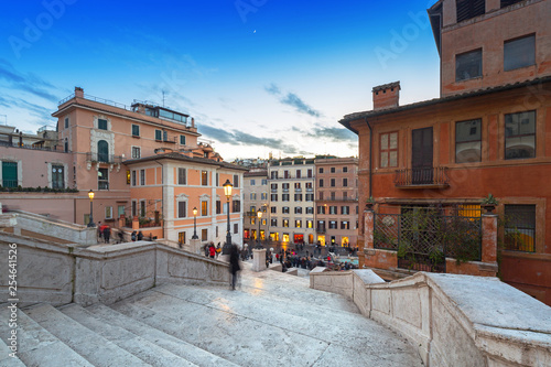 Leinwanddruck Bild The Spanish steps in Rome at dusk, Italy