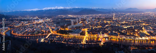 Aerial panorama of Grenoble at dusk, France - 254659795