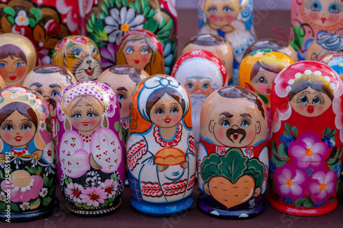 Bright colorful wooden Russian nesting dolls. © Dyba Images