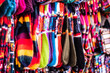 Different colorful hanging socks with weaves
