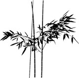 black isolated bamboo leaves on three straight stems