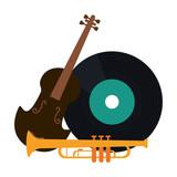 music violin vinyl and trumper