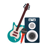 music speaker microphone and electric guitar