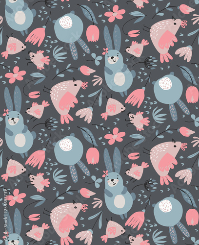 Vector seamless pattern with rabbits, chicken and flowers. - 254692739
