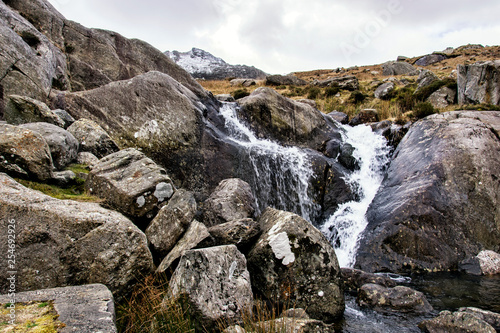 rain water flows of tryfan mountain in snowdonia north wales - 254692926