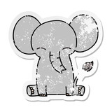 distressed sticker of a quirky hand drawn cartoon elephant
