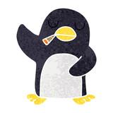 quirky retro illustration style cartoon penguin