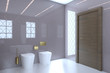 View of the sink, toilet and bidet in a large modern bathroom with brown doors.. 3D rendering