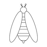 Bee bug cartoon isolated in black and white