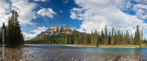 Castle Mountain in Banff National Park, Canada Bow valley under the surveillance of mighty Rocky Mountains. Beautiful summer scene in the Canadian Rockies at the Banff National Park - 254715143