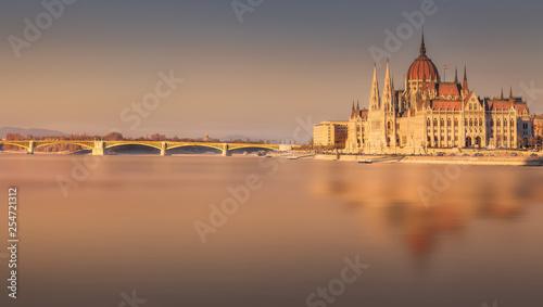 Leinwandbild Motiv Parliament building and river Danube of Budapest