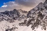 Mountains winter landscape. Tatra mountains in Poland retro vintage tones.