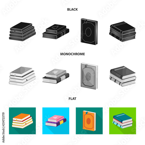 Isolated object of training and cover icon. Set of training and bookstore  vector icon for stock.