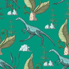 Compsognathus Dinosaur seamless pattern.