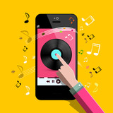 Music Player Vector Flat Design Symbol with Vinyl Icon on Phone Screen and Hand. Notes on Background.