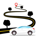 White Car on Road with Destination Pin on Street Vector Design